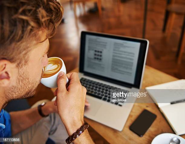 Updating his blog page