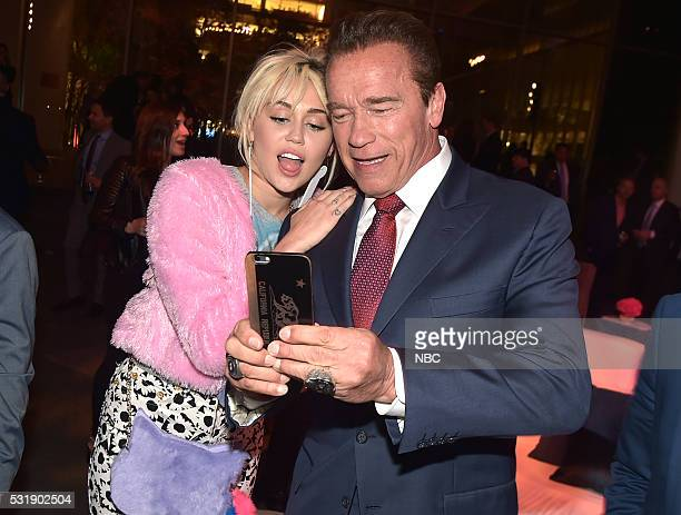 Upfront Party at MoMA in New York City on Monday May 16 2016' Pictured Miley Cyrus 'The Voice' on NBC Arnold Schwarzenegger 'The New Celebrity...