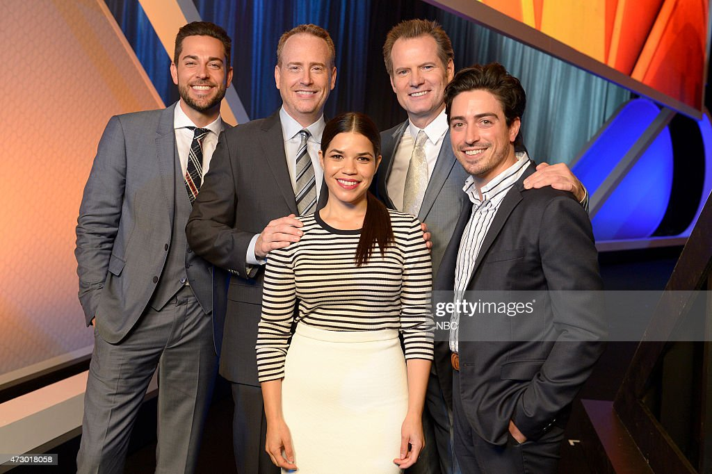 Upfront Presentation -- Presentation to Advertisers, Backstage -- Pictured: (l-r) Zachary Levi 'Heroes Reborn', Robert Greenblatt, Chairman, NBC Entertainment, America Ferrera 'Superstore', Jack Coleman 'Heroes Reborn', Ben Feldman 'Superstore' --