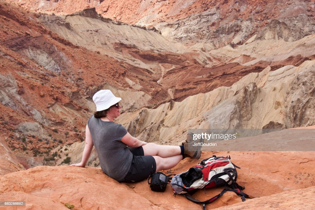 Sitting on the Edge of the Crater : Stock Photo