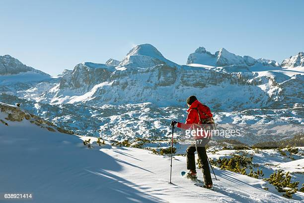 Uphill snowshoeing at Dachstein Mountains, Austria