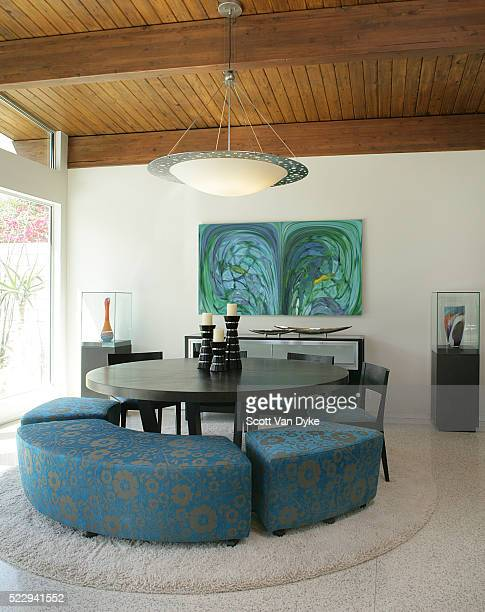 Upholstered Bench Seating at Round Dining Table