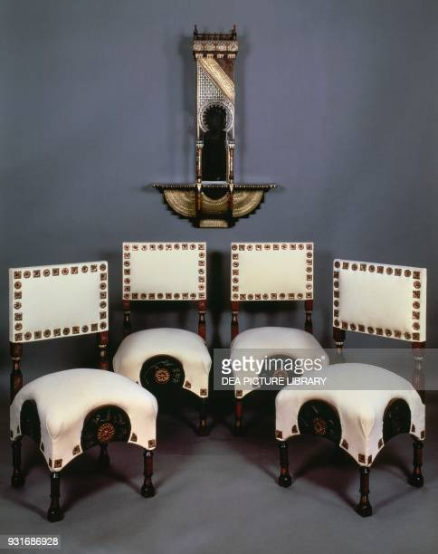 Upholstered chairs with copper studs ca 1900 by Carlo Bugatti Art Nouveau Italy 20th century