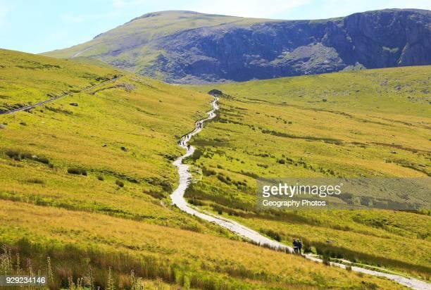 Upland landscape view towards summit, Mount Snowdon, Gwynedd, Snowdonia, north Wales, UK.