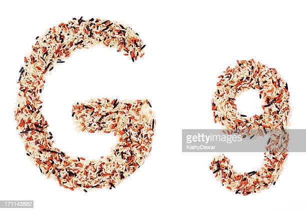 Upper and Lower Case Letter G made with Grains