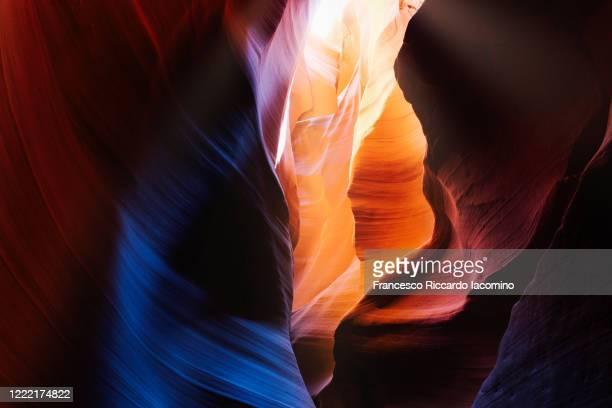 upper antelope slot canyon near page, arizona. light beams. usa - francesco riccardo iacomino united states foto e immagini stock
