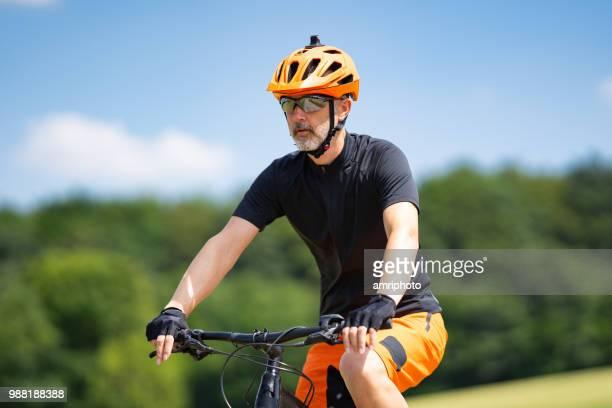 upper body mountainbiker with helmet