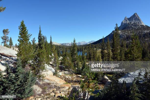 Upper Cathedral lake and Cathedral Peak in Yosemite National Park