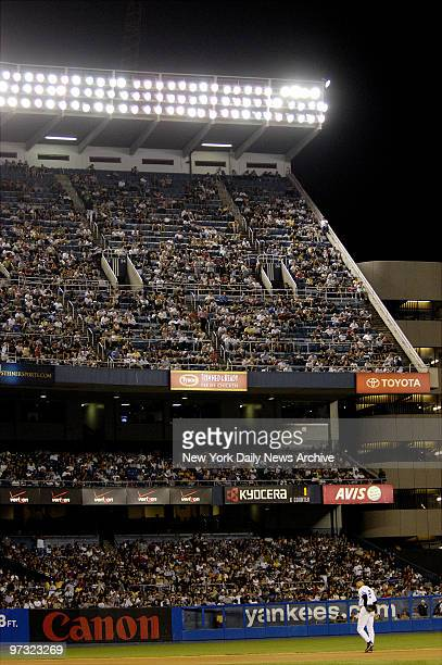 Upper deck where 6thinning solo homer by New York Yankees' Alex Rodriguez landed during game against the Seattle Mariners at Yankee Stadium in the...
