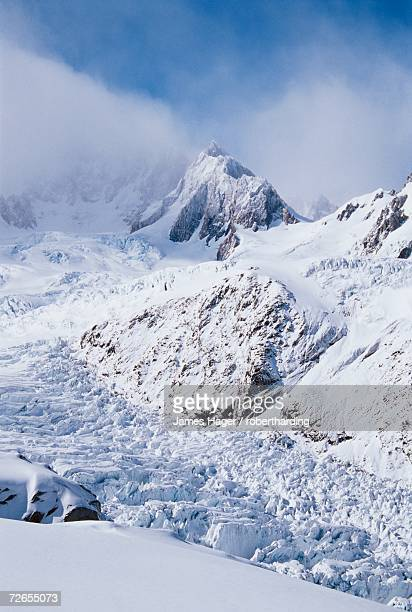 Upper Fox Glacier and the Southern Alps, Westland National Park, UNESCO World Heritage Site, Westland, South Island, New Zealand, Pacific