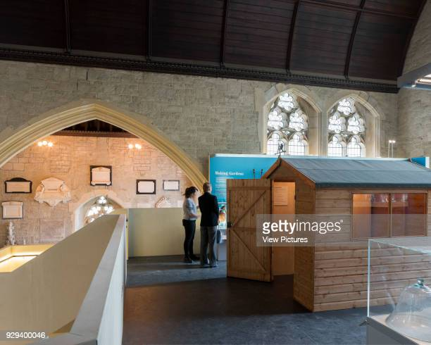 Upper gallery with temporary exhibition. Garden Museum Lambeth Palace, London, United Kingdom. Architect: Dow Jones Architects, 2017.