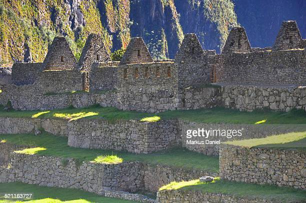 "upper group storehouses in machu picchu - ""markus daniel"" stock pictures, royalty-free photos & images"