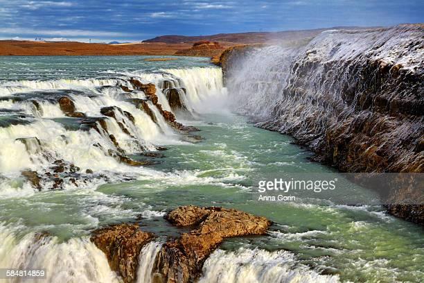 Upper Gullfoss falls in autumn, frozen cliffs