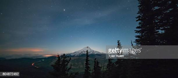 upper hood river valley illuminated at night with mt. hood - pacific crest trail stock pictures, royalty-free photos & images