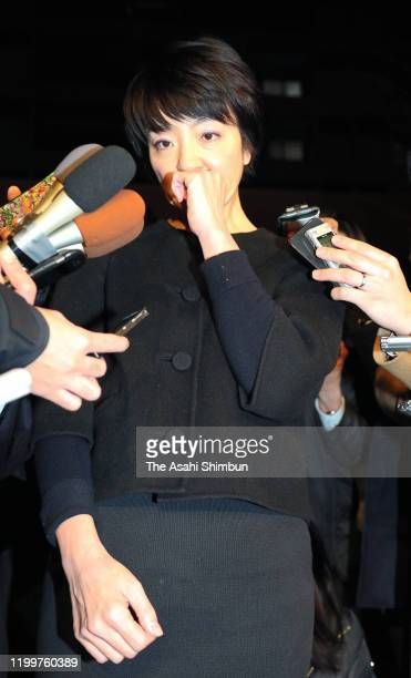 Upper Hose lawmaker Anri Kawai speaks to media after offices in Hiroshima have been raid on January 15 2020 in Tokyo Japan Anri Kawai was elected to...