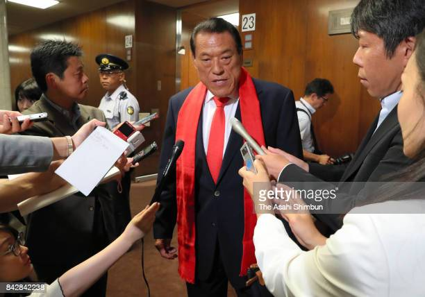 Upper House lawmaker Kanji Inoki as known as Antonio Inoki speaks to media reporters after an Upper House Foreign and Defense Committee at the diet...