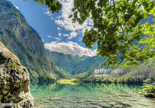 upper lake with reflection, salet am konigssee, berchtesgaden national park, berchtesgadener land district, upper bavaria, bavaria, germany - berchtesgaden national park stock photos and pictures