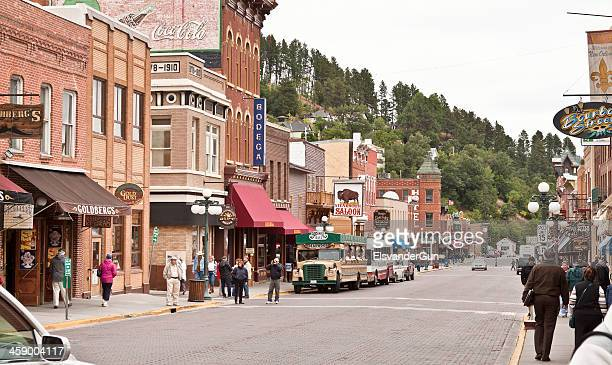 upper main street in deadwood, south dakota - south dakota stock photos and pictures