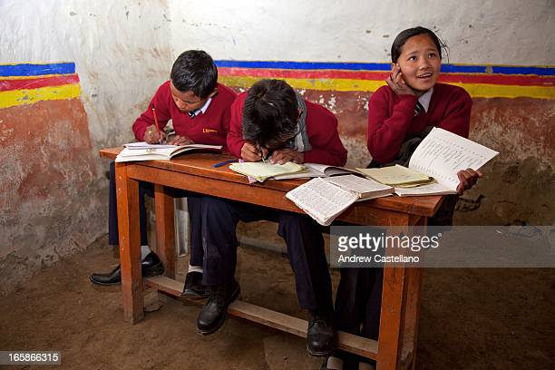 Upper Mustang, Nepal - Three young students studying Tibetan herbal medicine in a primitive classroom at the Amchi School, inside the ancient walled...