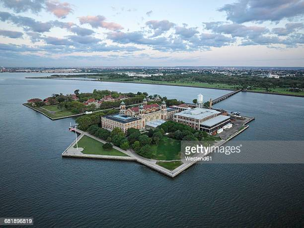 usa, upper new york bay, aerial photograph of ellis island - new jersey bildbanksfoton och bilder