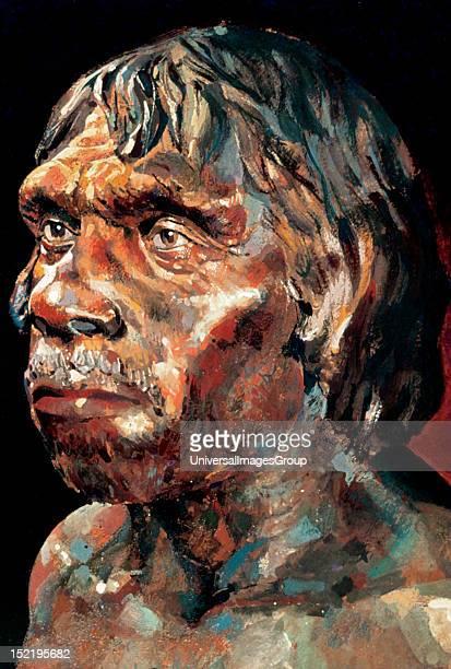 Upper Paleolithic Drawing depicting Tautavel Man Caune de L'Arago Tautavel France