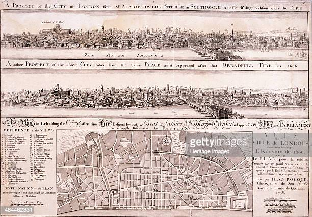 Upper panel shows the City of London from Southwark before the Great Fire of London in 1666; middle panel shows the same view after the Great Fire....