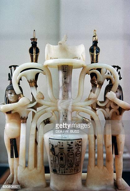 Upper part of an alabaster perfume vase Treasury of Tutankhamun 13331323 BC Egypt Egyptian civilisation New Kingdom Dynasty XVIII Cairo Egyptian...