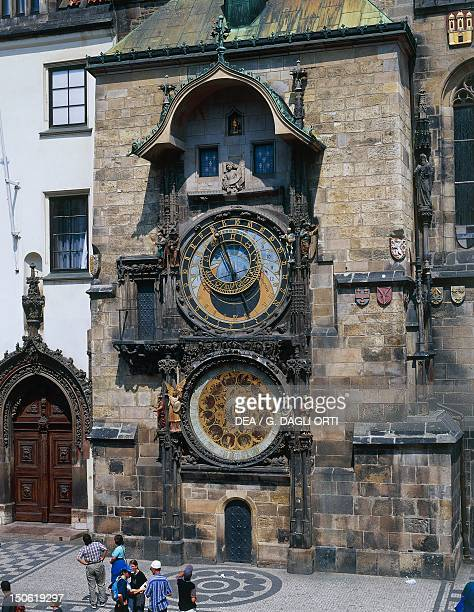 Upper quadrant with zodiac signs and the lower with the calendar by Mikulas de Kadan 15th century detail of the astronomical Clock City Hall Prague...
