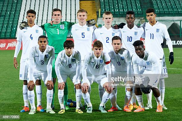 upper row England's Jake ClarkeSalter and goalkeeper Sam Howes and Taylor Moore and Callum Connolly and Josh Onomah and Dominic Solanke and at lower...