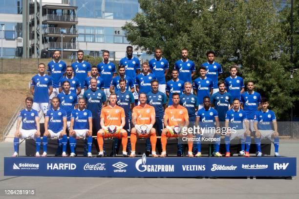 Upper row starts with Guido Burgstaller, Ozan Kabak, Mark Uth, Salif Sane, Malick Thiaw, Matija Nastasic, Weston McKennie. The second row from up...