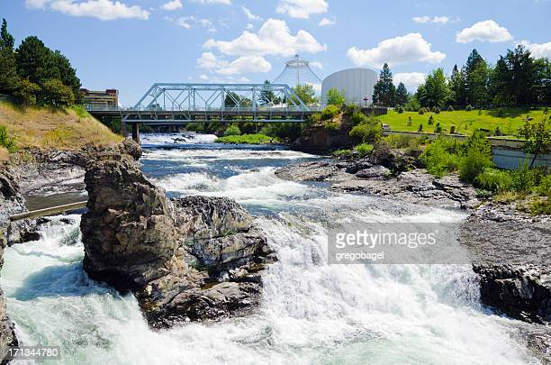 upper spokane falls with howard street bridge in distance - washington state stock pictures, royalty-free photos & images