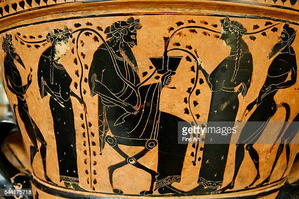 Upper tier of an Attic blackfigure kraterpsykter circa 525500 BC Dimensions height 362 cm diameter 405 cm Located in the Musee du Louvre Paris France