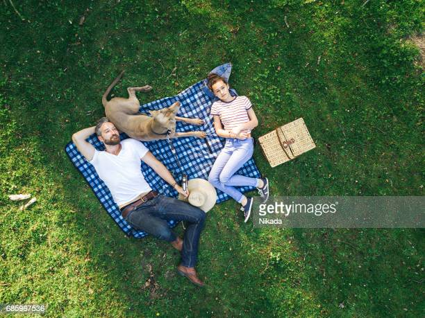 upper view of a happy father with teenage daughter and dog lying on a blanket in a park