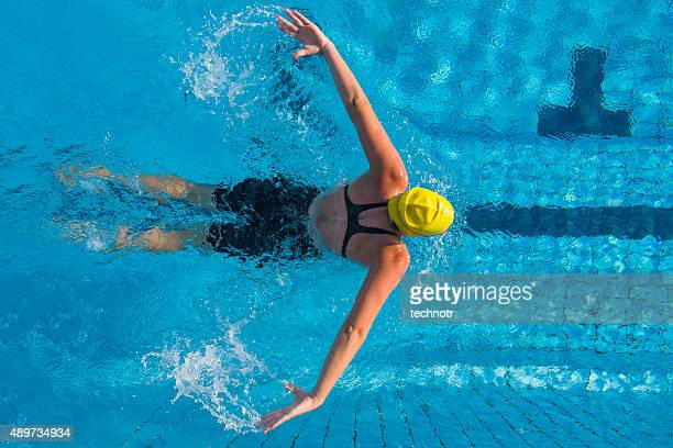 Upper View of Young Women at Butterfly Stroke