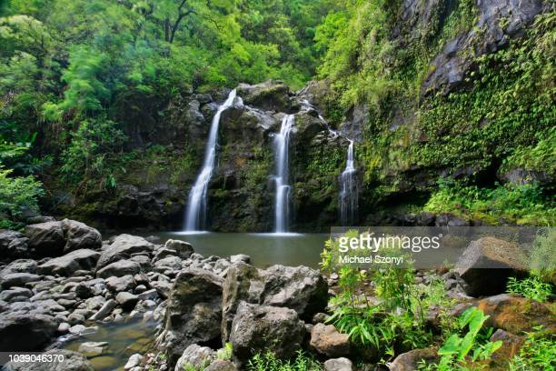 Upper Waikani Falls, also known as Three Bear Falls, waterfalls on the Road to Hana, famous tourist road, east coast of Maui Island, Hawai'i, Hawaii, USA