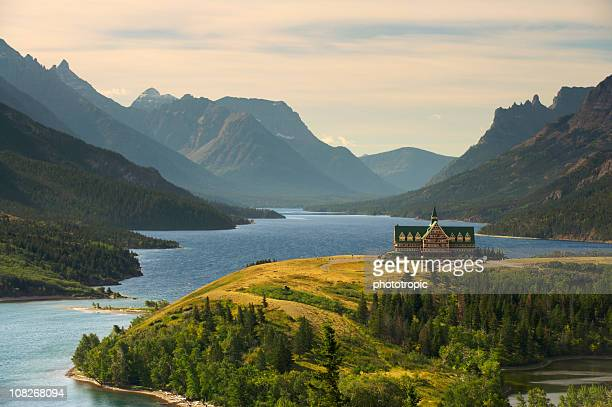 upper waterton lake - alberta stock pictures, royalty-free photos & images
