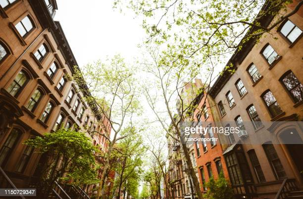upper west side view in manhattan - brownstone stock pictures, royalty-free photos & images