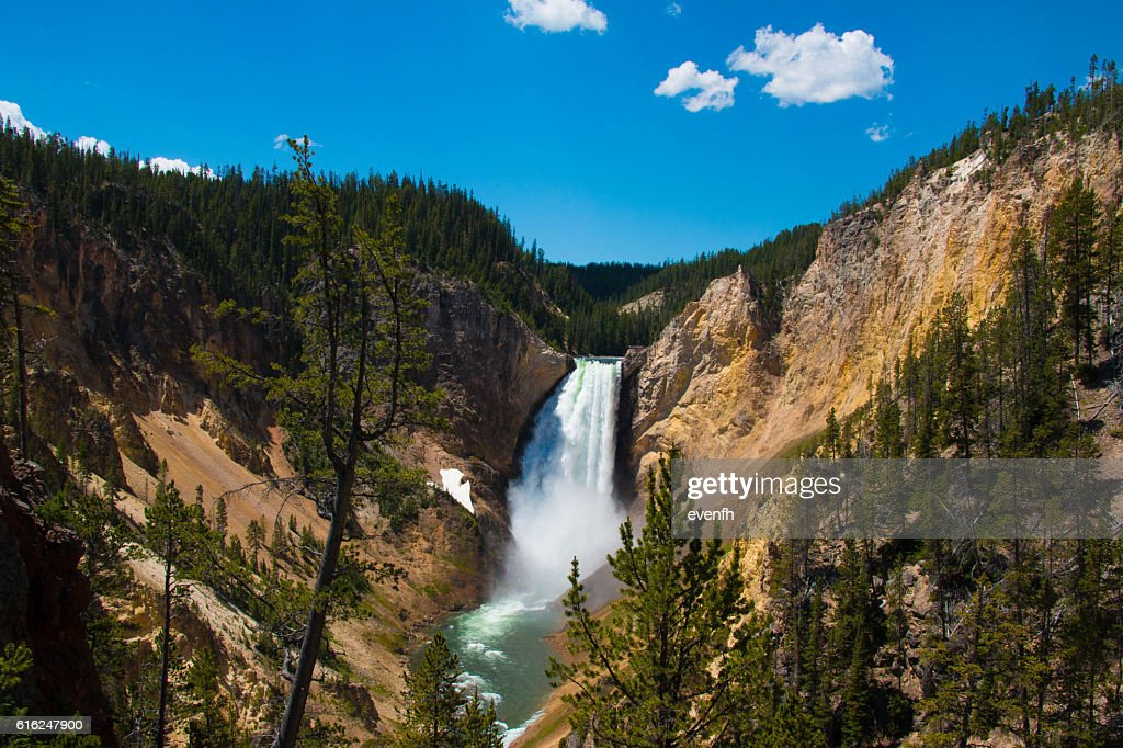 Upper Yellowstone Falls within Yellowstone National Park, Wyoming, United States : Stock Photo
