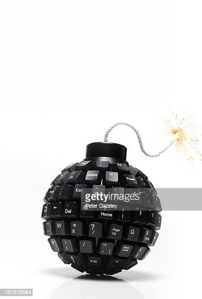 upright computer time bomb with fuse - fuse stock photos and pictures