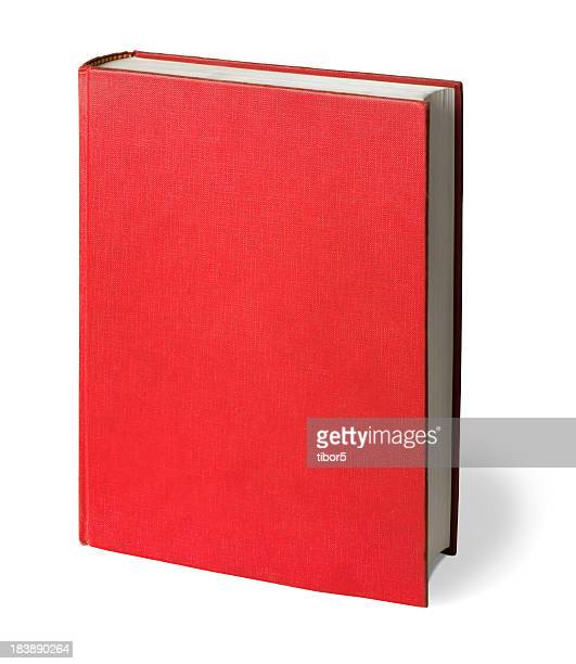 upright red book with clipping path - boek stockfoto's en -beelden