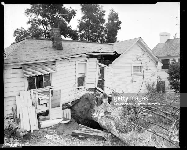 Uprooted tree does same to house at 1549 Ben Lomond Drive in Glendale 22 May 1954 John SchneiderCarol Ann Schneider 11 yearsJean Schneider 11...