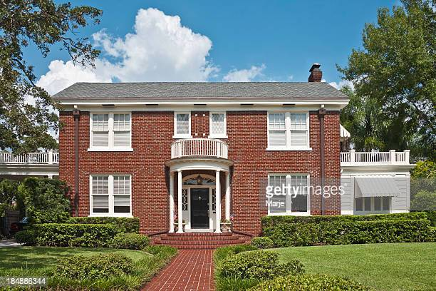 upscale brick home - colonial style stock pictures, royalty-free photos & images
