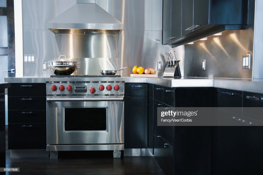 Upscale Gourmet Kitchen With Stainless Appliances : Stock Photo
