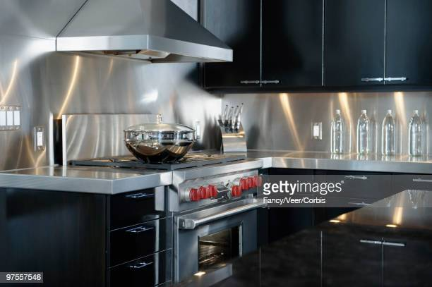 Upscale kitchen with stainless steel counter