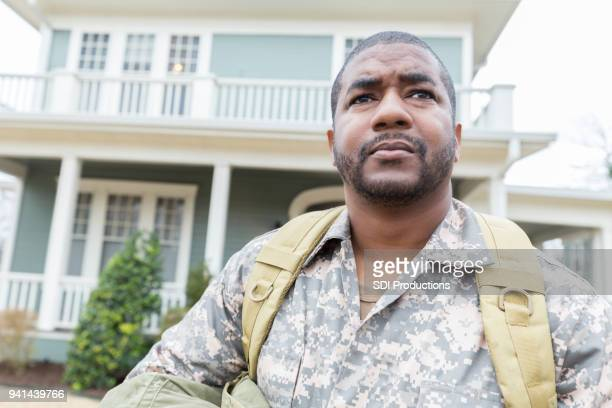 Upset Army soldier leaves his home for overseas assignment