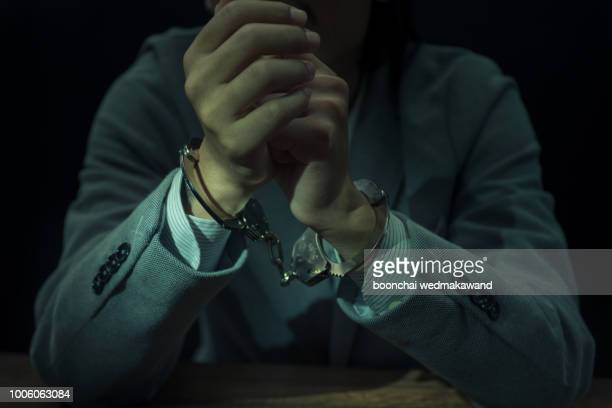 upset handcuffed man imprisoned for financial crime, punished for serious fraud - crime stock pictures, royalty-free photos & images