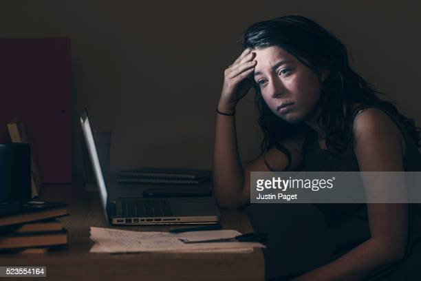 Upset Teenage Girl by Computer