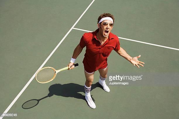 Upset tennis player