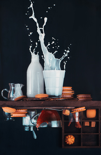 Upside and Down Again (with milk) - gettyimageskorea