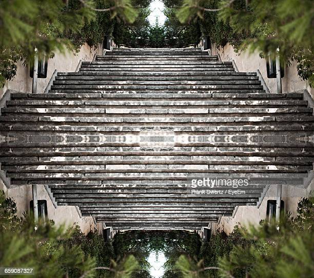 upside down image of empty steps - frank swertz stockfoto's en -beelden